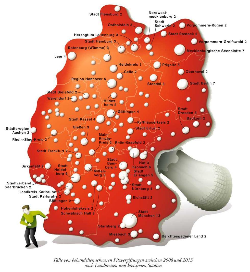 Deutschlandkarte: Pilzvergiftungen