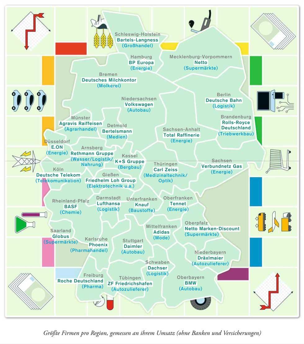 deutschlandkarte die gr ten firmen zeitmagazin