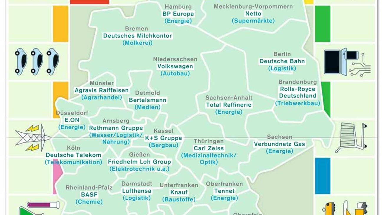 Deutschlandkarte die gr ten firmen zeitmagazin for Design firmen deutschland