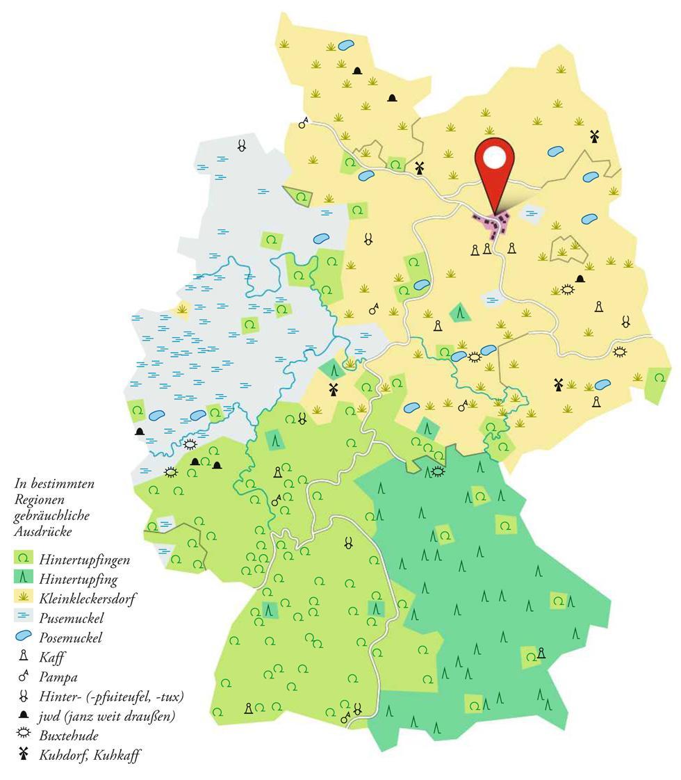 """Deutschlandkarte: Wo man provinzielle Orte """"Hintertupfing"""" nennt - und wo """"Kuhkaff"""""""