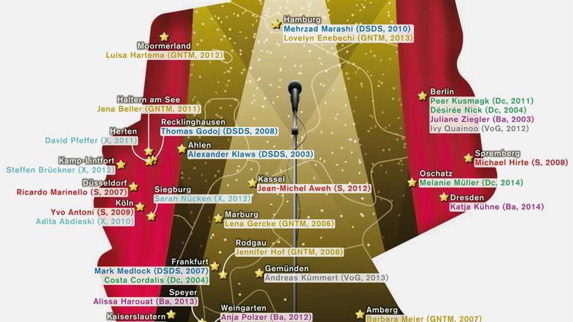 Deutschlandkarte: Castingshow-Gewinner