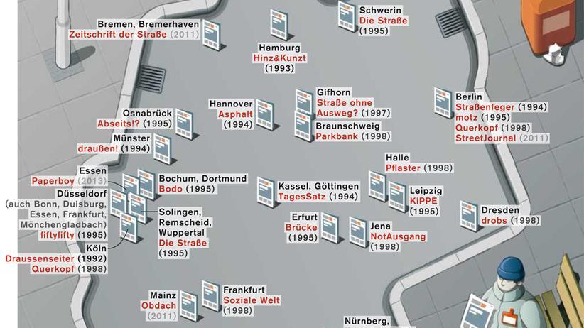 Deutschlandkarte: Draußenseiter, Trott-war, StreetJournal