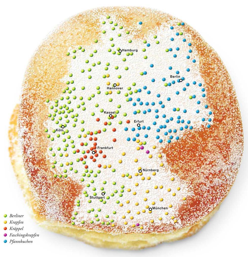 Deutschlandkarte: Berliner, Krapfen und Pfannkuchen