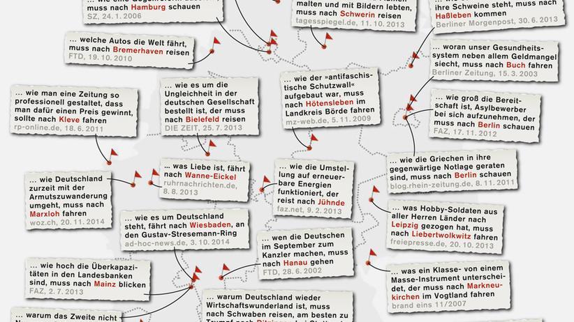 Deutschlandkarte: Wer X wissen will, muss nach Y fahren