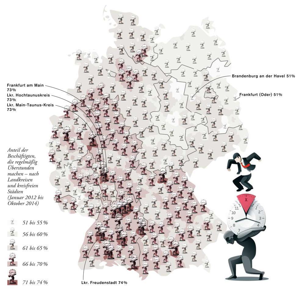 Deutschlandkarte: Überstunden