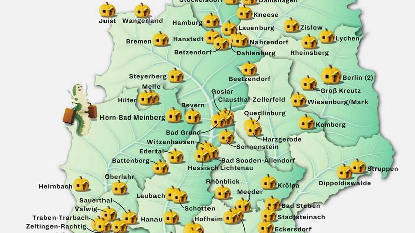 Deutschlandkarte: Hostels für Vegetarier