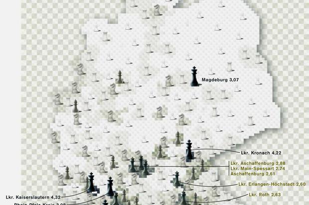 Deutschlandkarte: Schachvereine