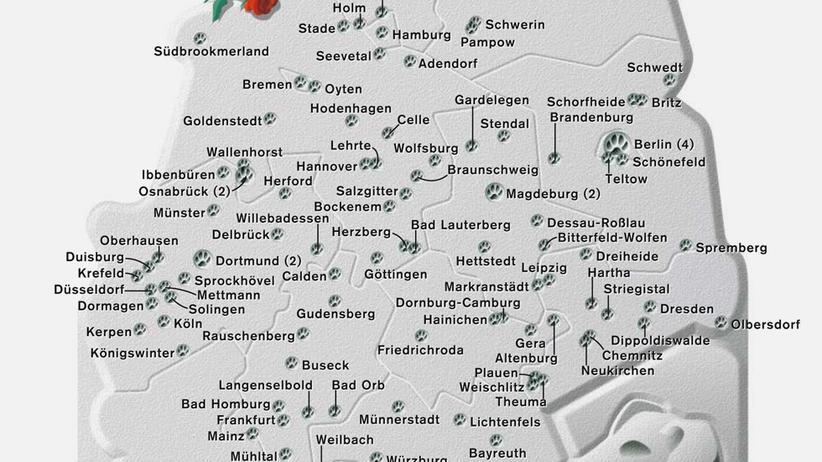 Deutschlandkarte: Tierfriedhoefe