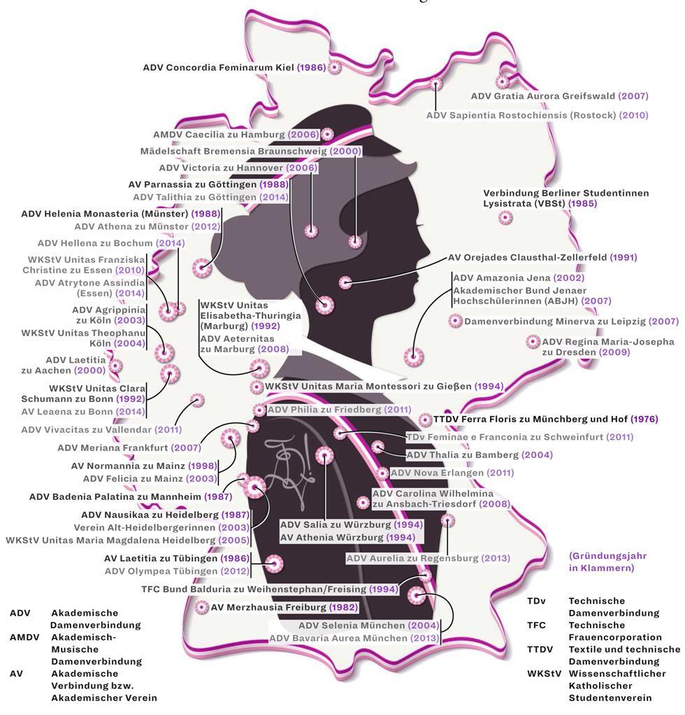 Deutschlandkarte: Studentinnenverbindungen