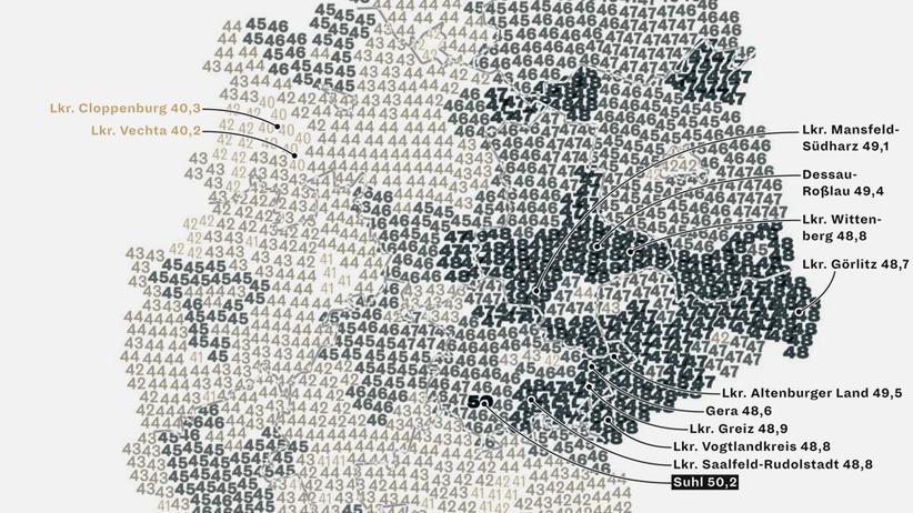 Deutschlandkarte: Durchschnittsalter
