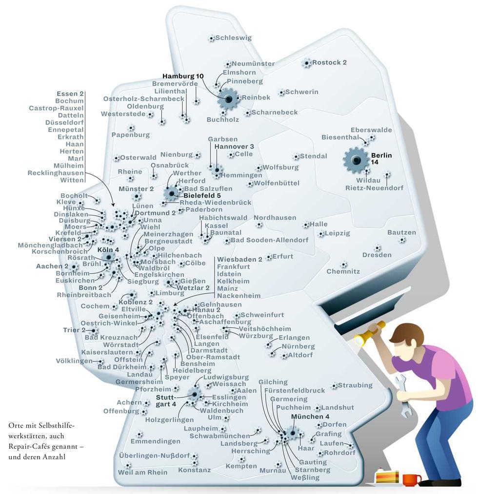Deutschlandkarte: Repair-Cafés