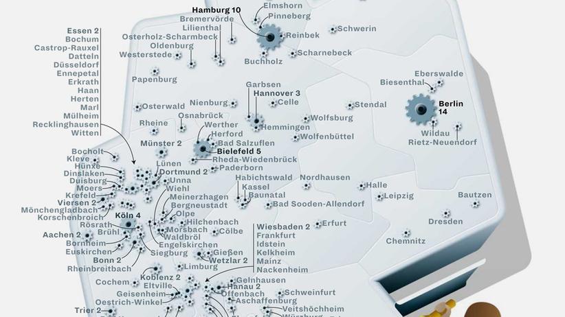 Deutschlandkarte: Schrauben, löten, kleben, nähen