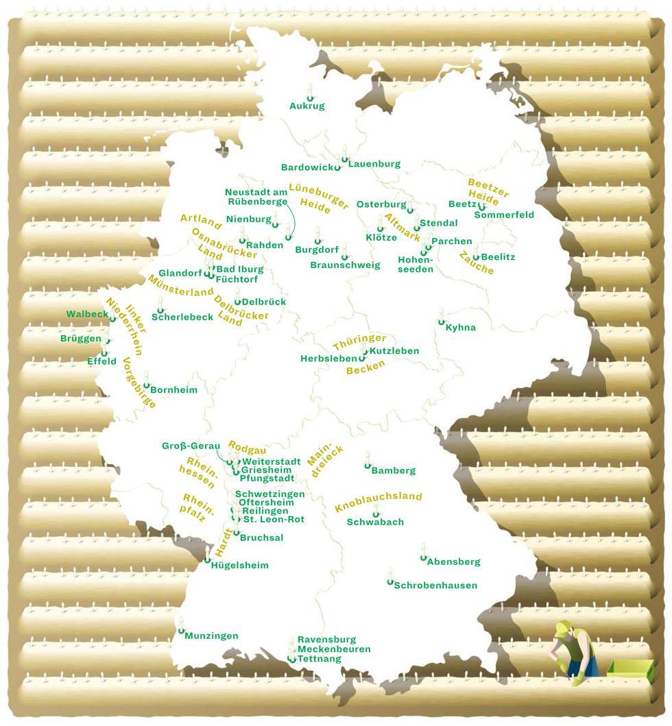 Deutschlandkarte: Spargelanbaugebiete