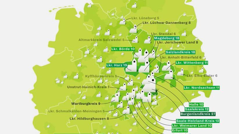 Deutschlandkarte: Radwegekirchen