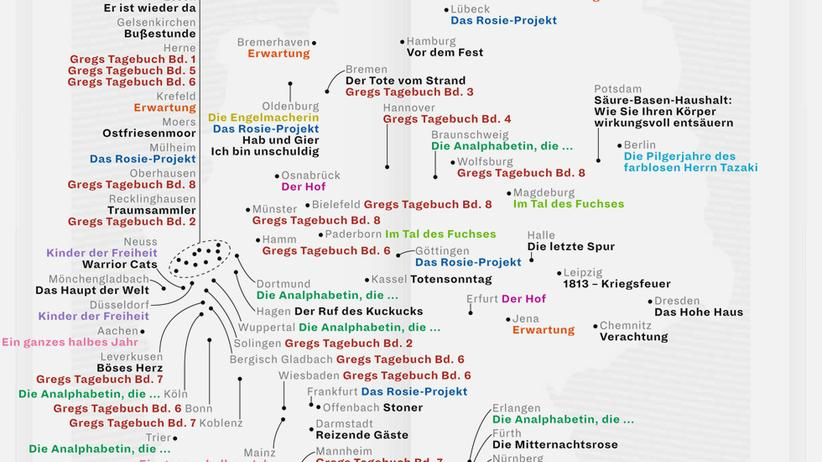 Deutschlandkarte: Lieblingsbücher