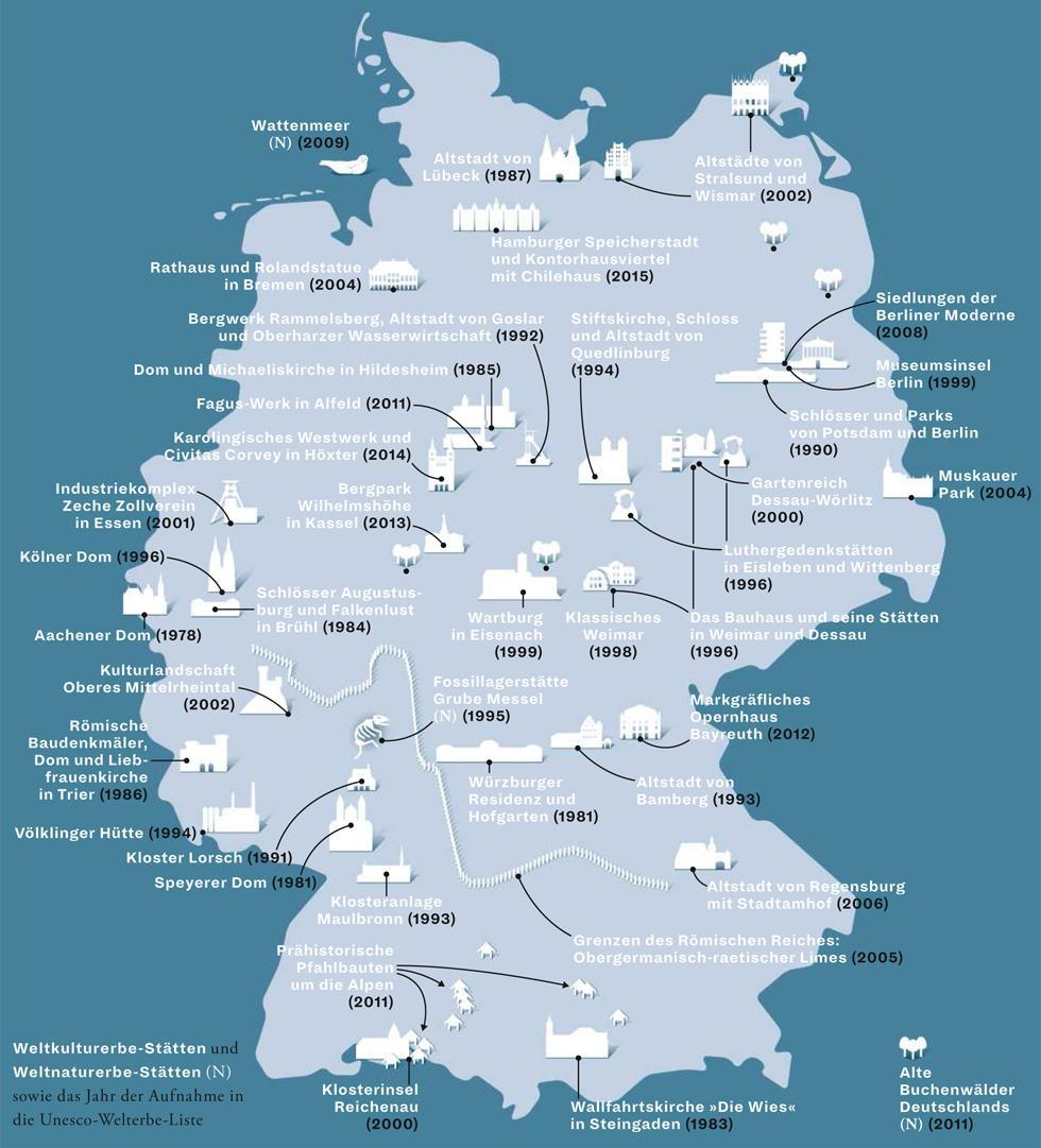 Zeit Magazin, Deutschlandkarte, Unesco-Weltkulturerbe, Kulturpolitik