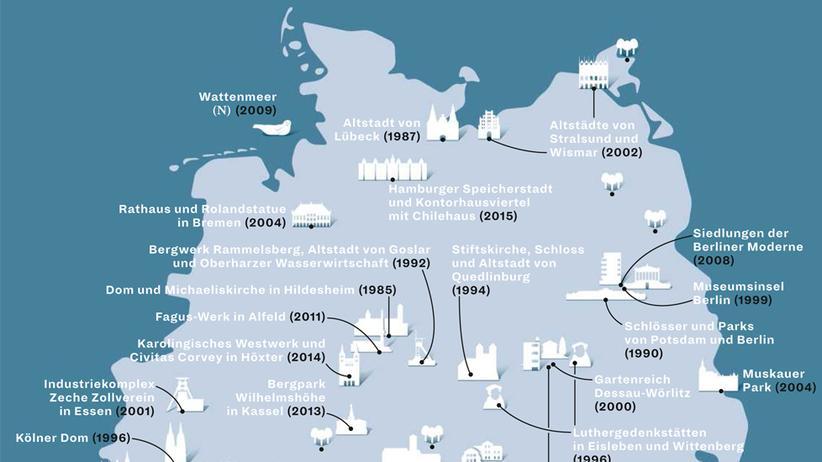 Deutschlandkarte: Welterbe-Stätten