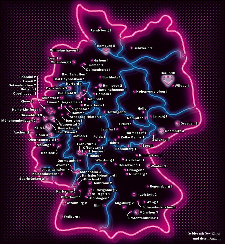 Deutschlandkarte: Sex-Kinos
