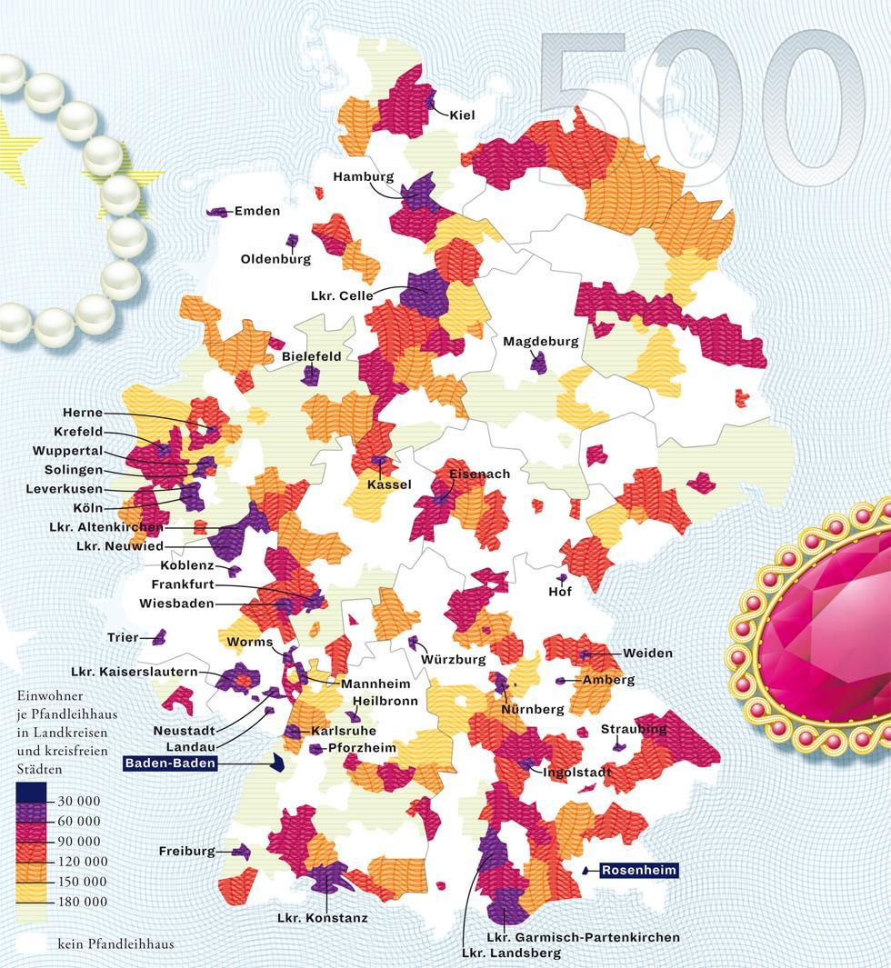 Zeit Magazin, Deutschlandkarte, Bank, Kredit, Region, Rosenheim, Baden-Baden, Stadt, Handwerk