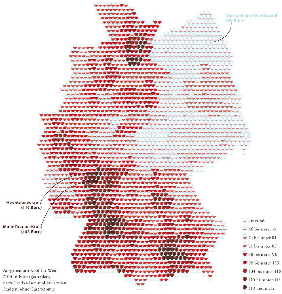 Deutschlandkarte: Wo wird teurer Wein getrunken | ZEITmagazin