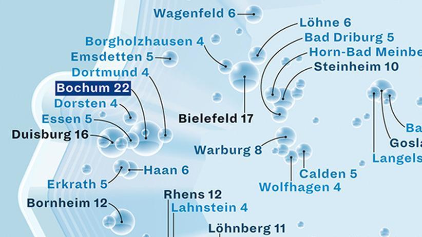 Deutschlandkarte: Wo Mineralwasser herkommt