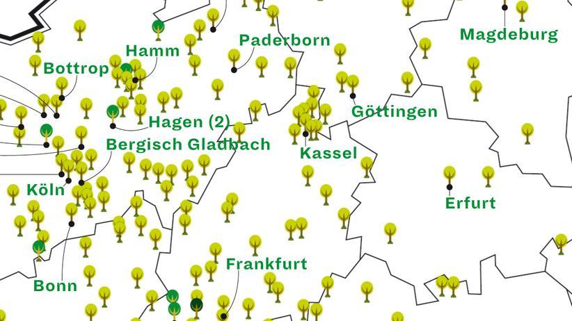 Deutschlandkarte: Naturbestattung