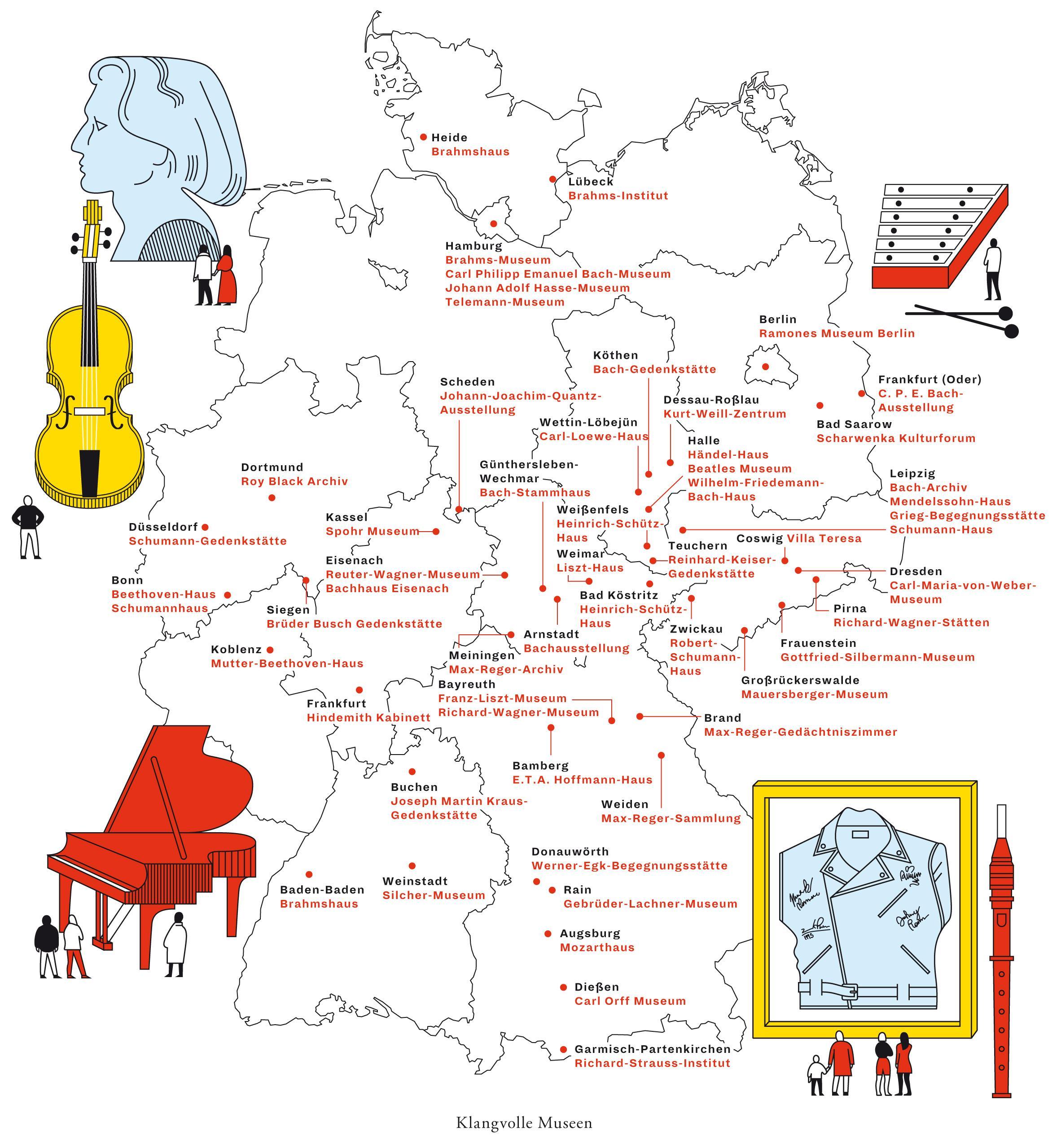 ZeitMagazin, Deutschlandkarte, Musik, Musiker, Museum, Johann Sebastian Bach, Richard Wagner, Ludwig van Beethoven