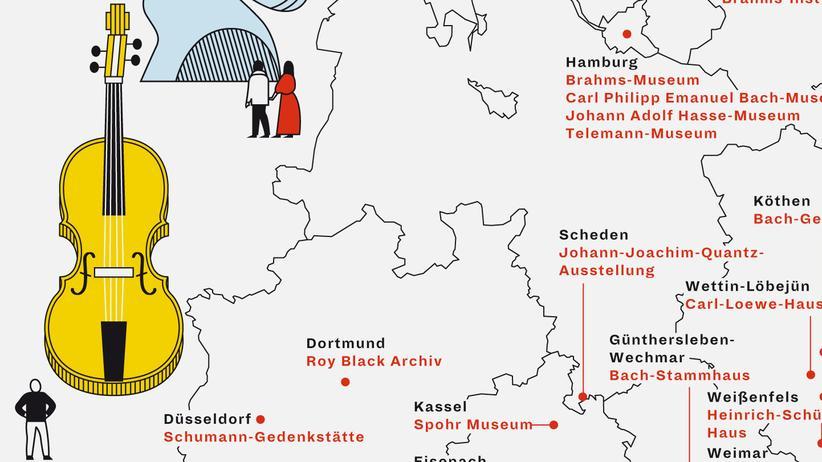 Deutschlandkarte: Musikermuseen