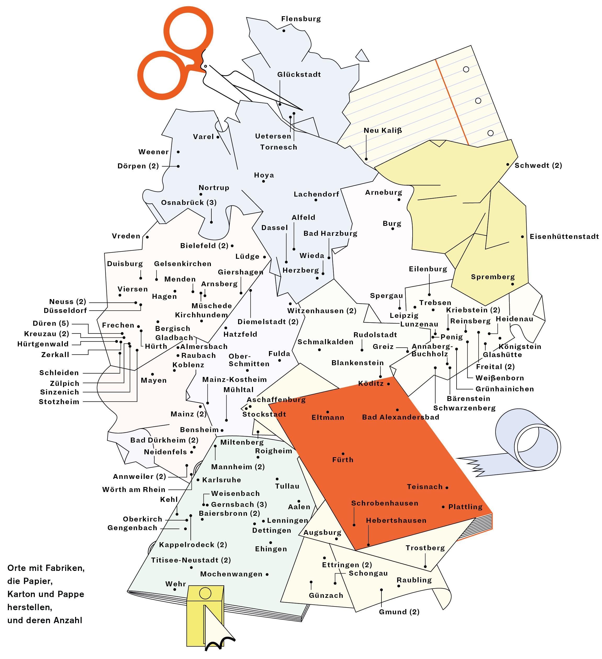 Deutschlandkarte: Papierfabriken