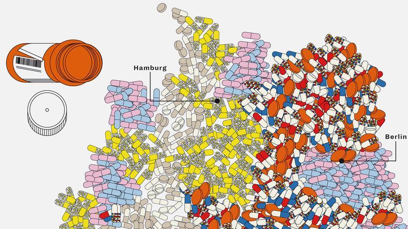 Deutschlandkarte: Ausgaben für Medikamente