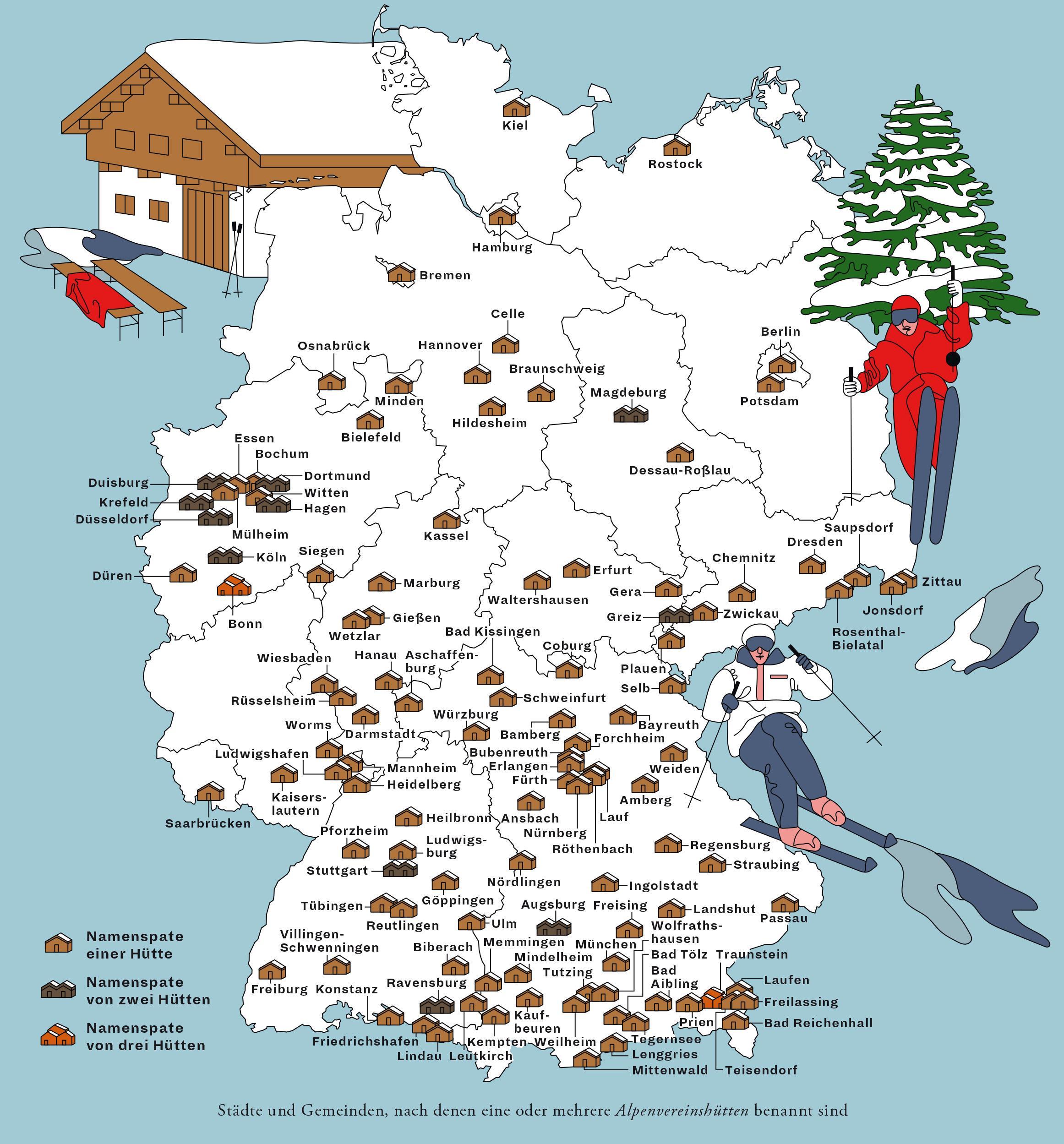 Deutschlandkarte: Namensgeber von Alpenvereinshütten