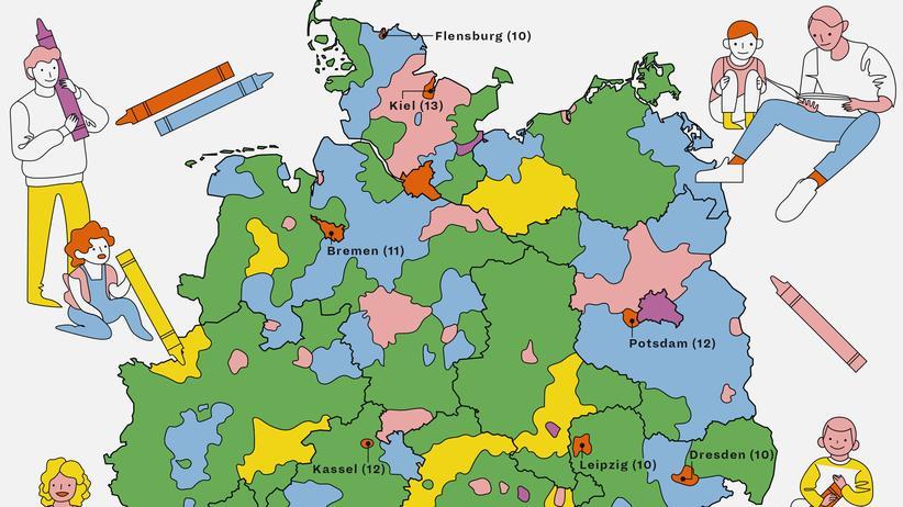 Deutschlandkarte: Männliche Kinderbetreuer