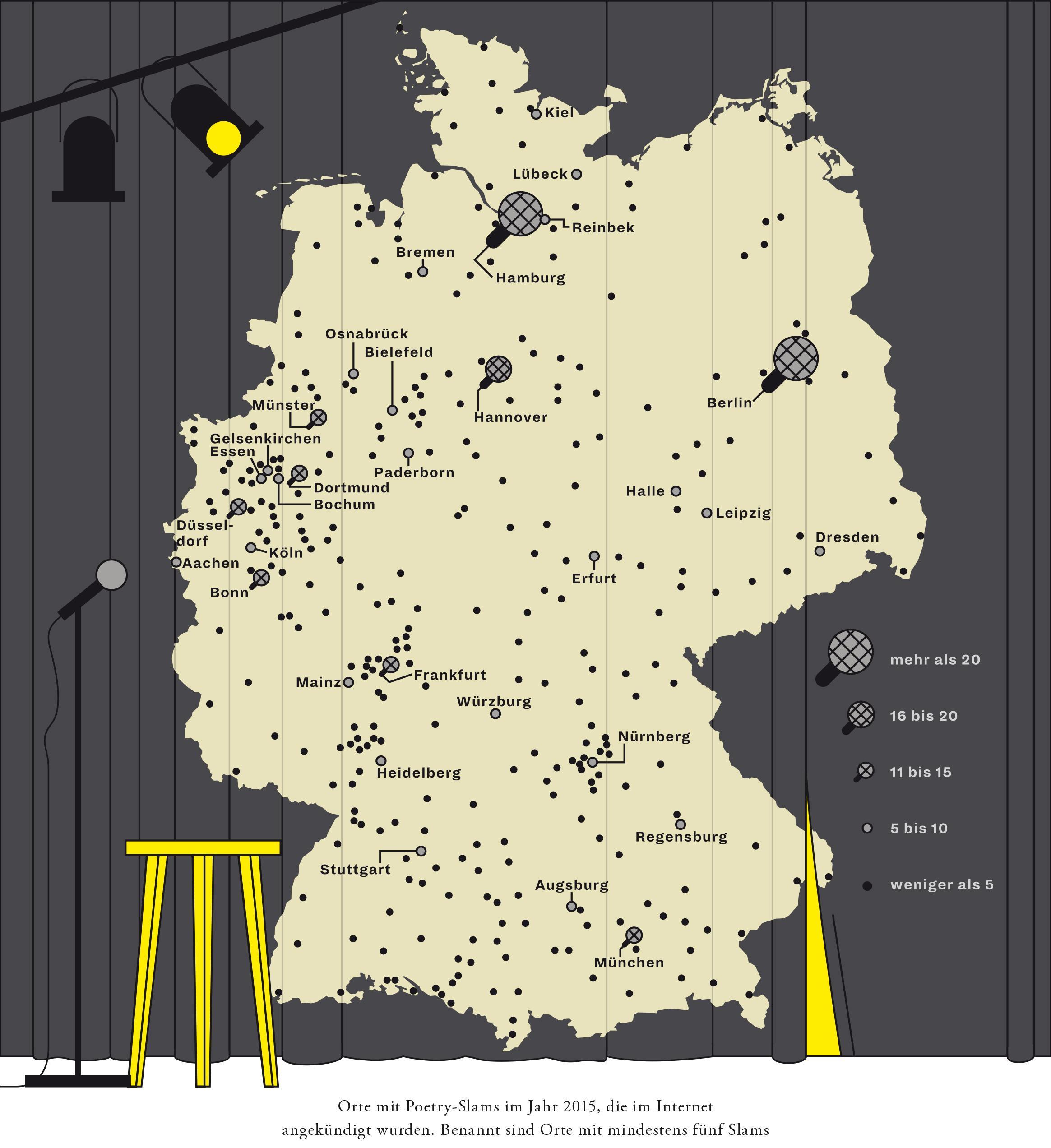 Zeit Magazin, Deutschlandkarte, Poetry Slam, Bühne Kunst, Poesie, Student