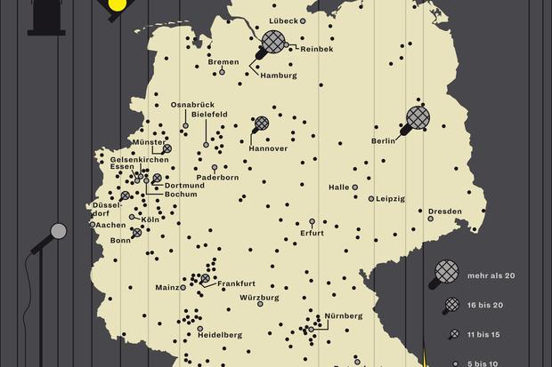 Deutschlandkarte: Poetry-Slams