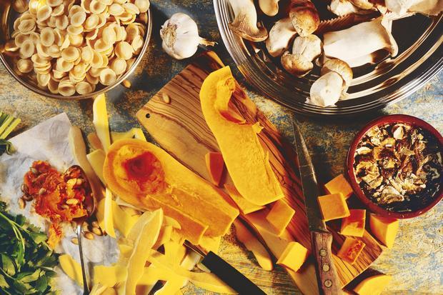 Wochenmarkt: Pasta mit Kürbis und Pilzen