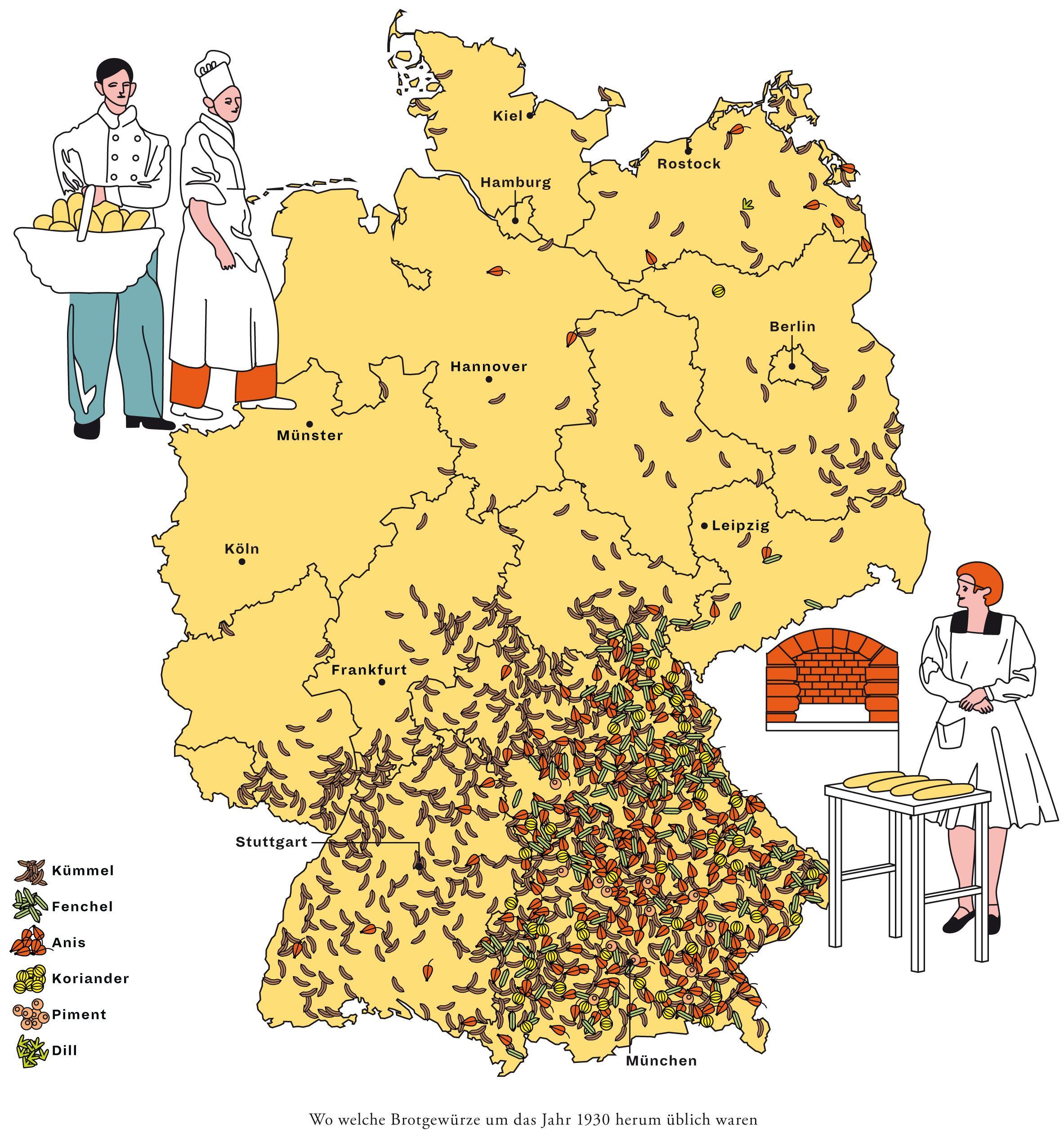 Deutschlandkarte: Gewürze im Brot