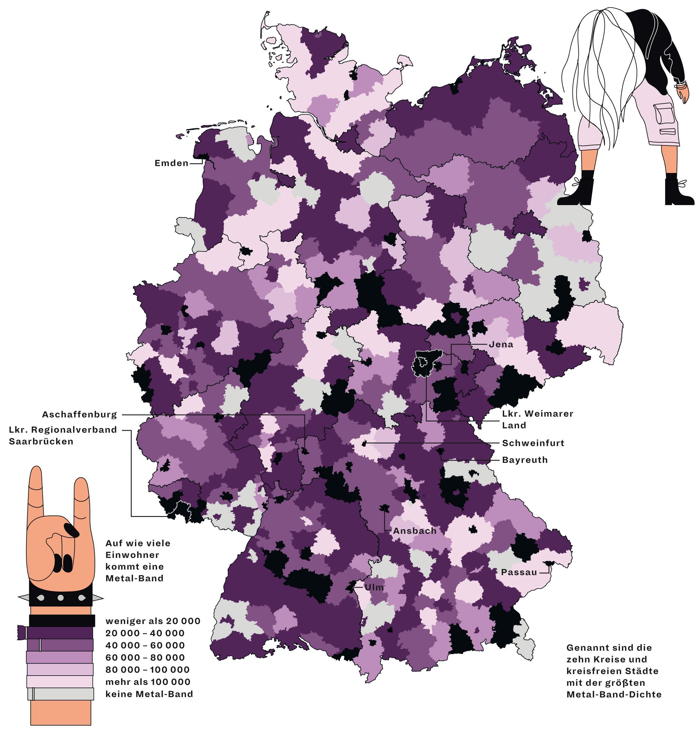 Deutschlandkarte: Metal-Bands
