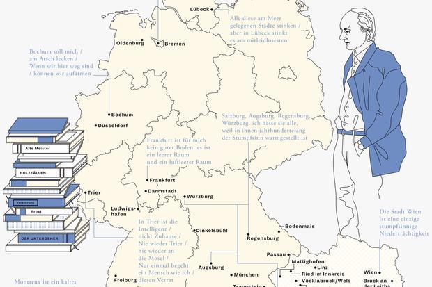 Deutschlandkarte: Von Thomas Bernhard beschimpfte Orte