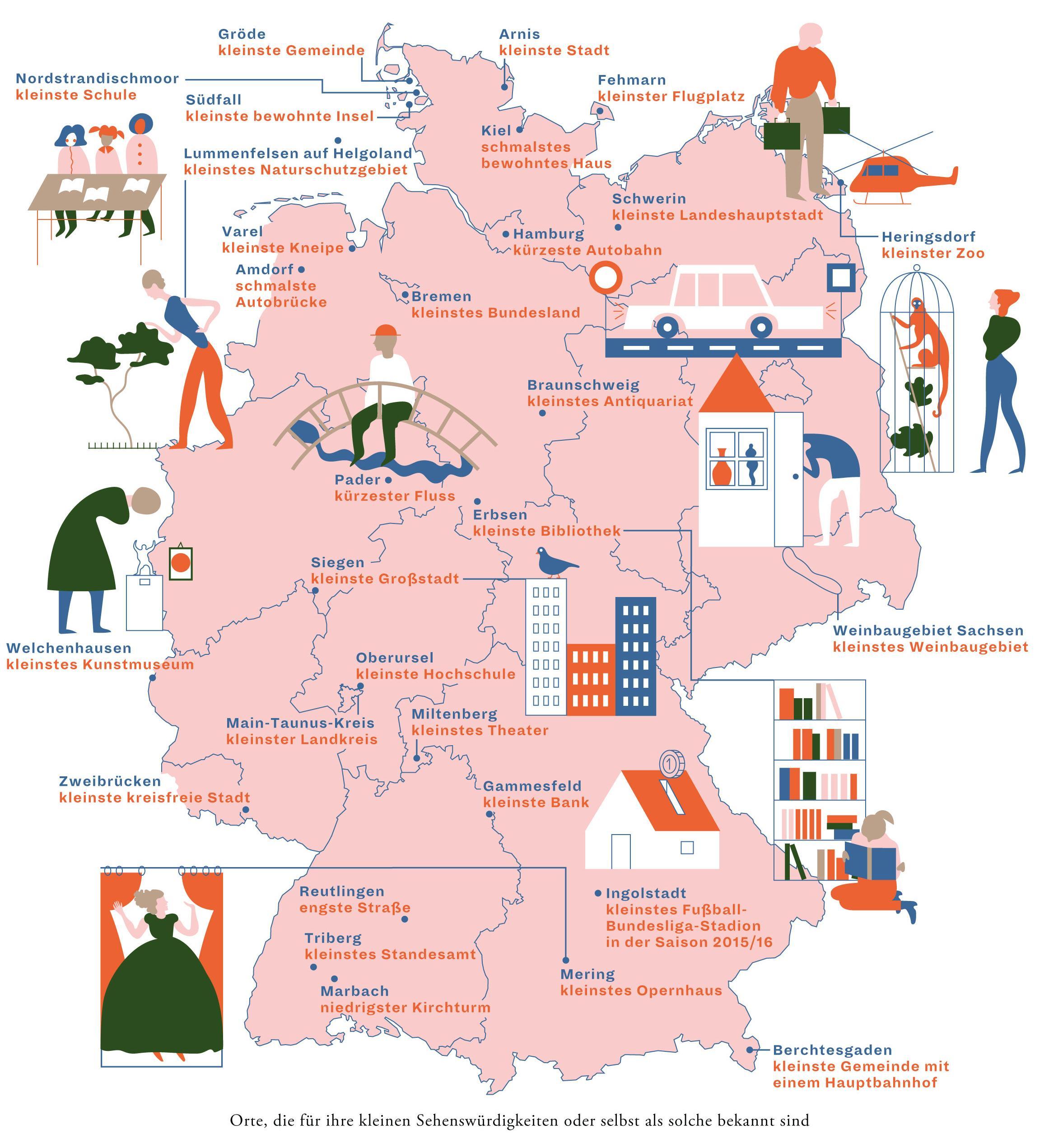 Deutschlandkarte: Die kleinsten Dinge