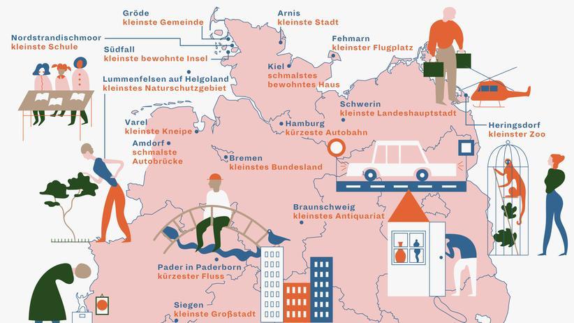 Deutschlandkarte: Klein, kleiner, berühmt