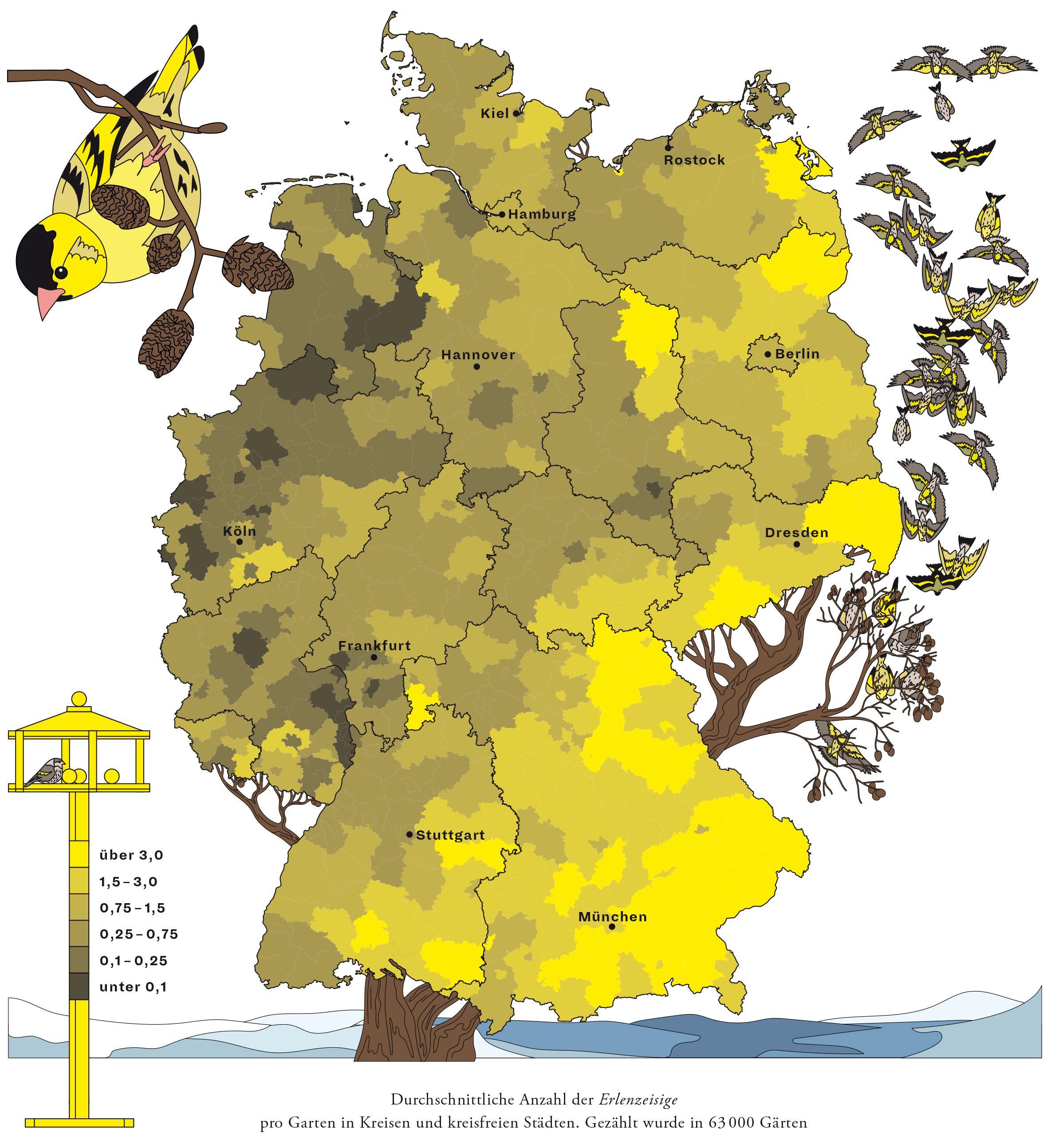 Deutschlandkarte: Der Erlenzeisig
