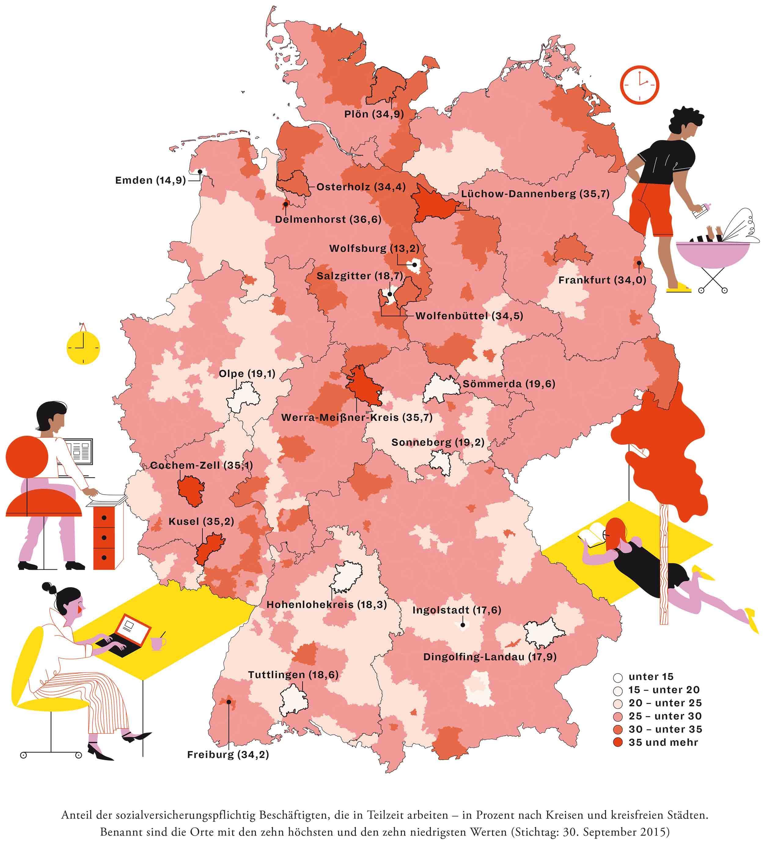 Deutschlandkarte: Teilzeitarbeit