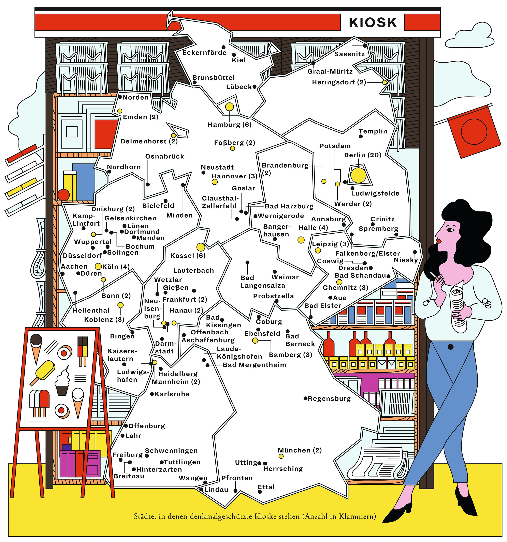 Deutschlandkarte: Denkmalgeschützte Kioske