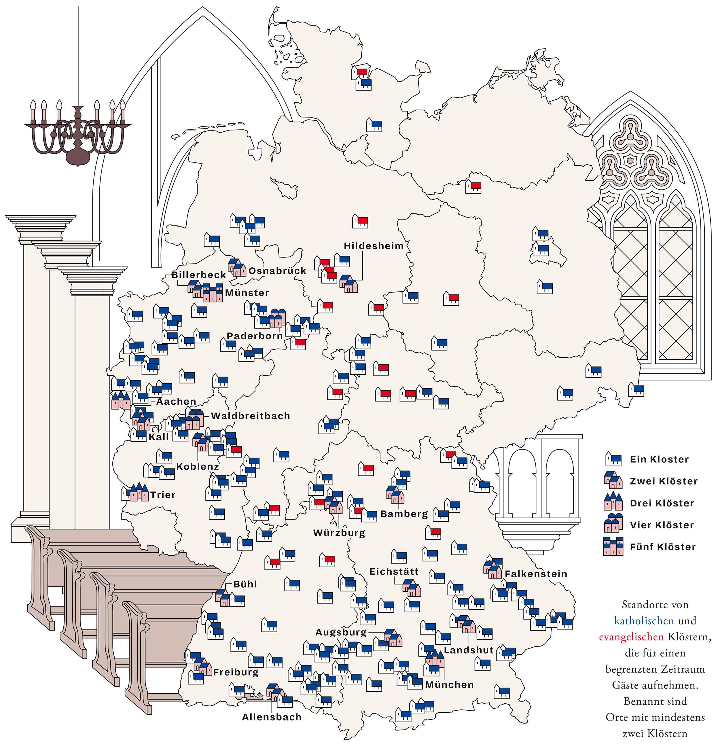 Deutschlandkarte: Ins Kloster auf Zeit