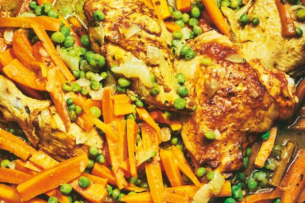 Wochenmarkt: Marokkanisches Huhn mit Erbsen und Möhren