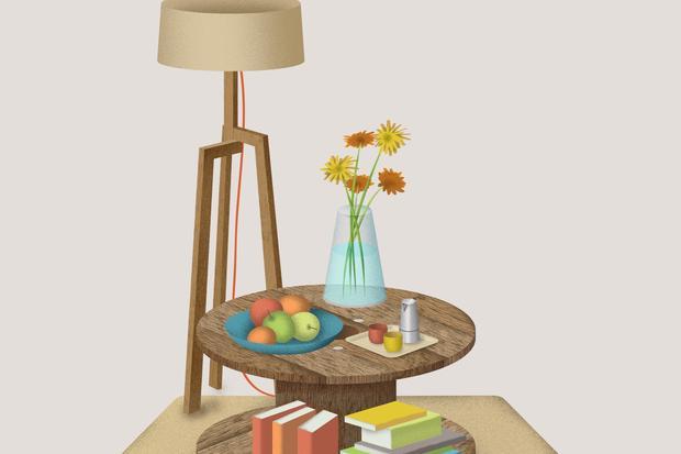Wundertüte: Benötigtes Material: Kabeltrommel, Holzleim, Sägemehl, Holzlack oder Lasur, 4 Rollen und dazugehörige Schrauben.