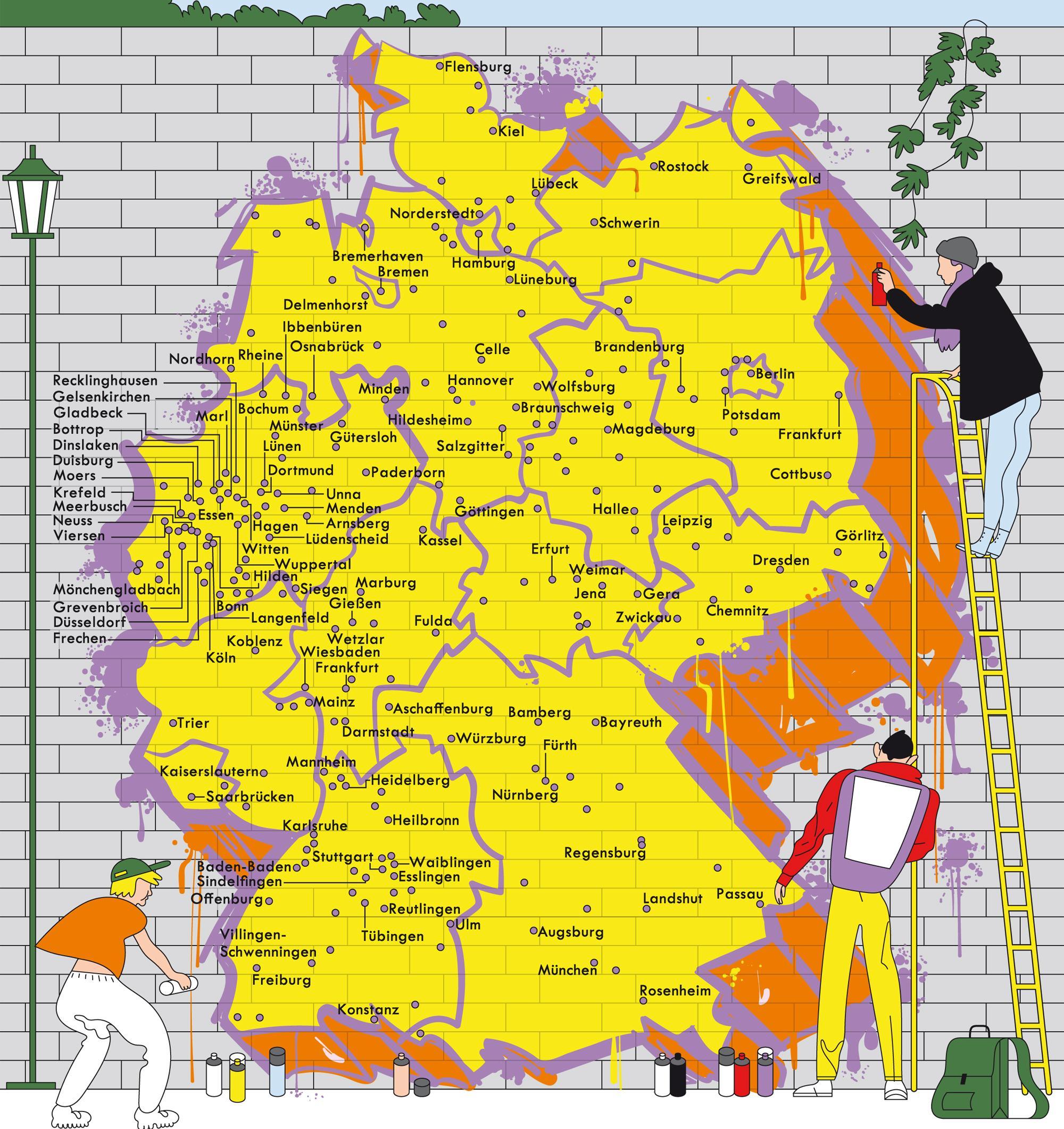 Deutschlandkarte: Graffitiwände