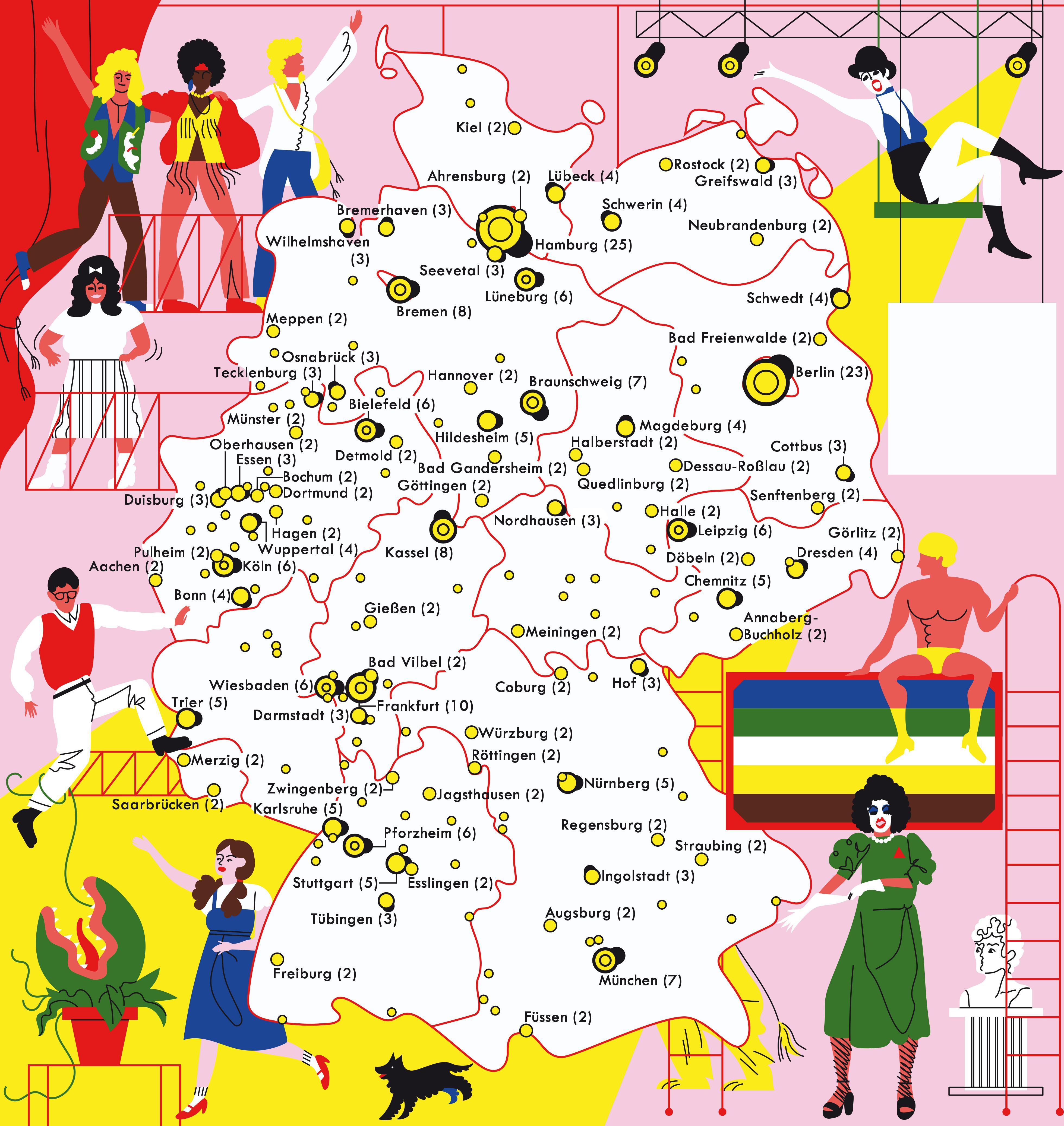 Deutschlandkarte: Musical-Premieren