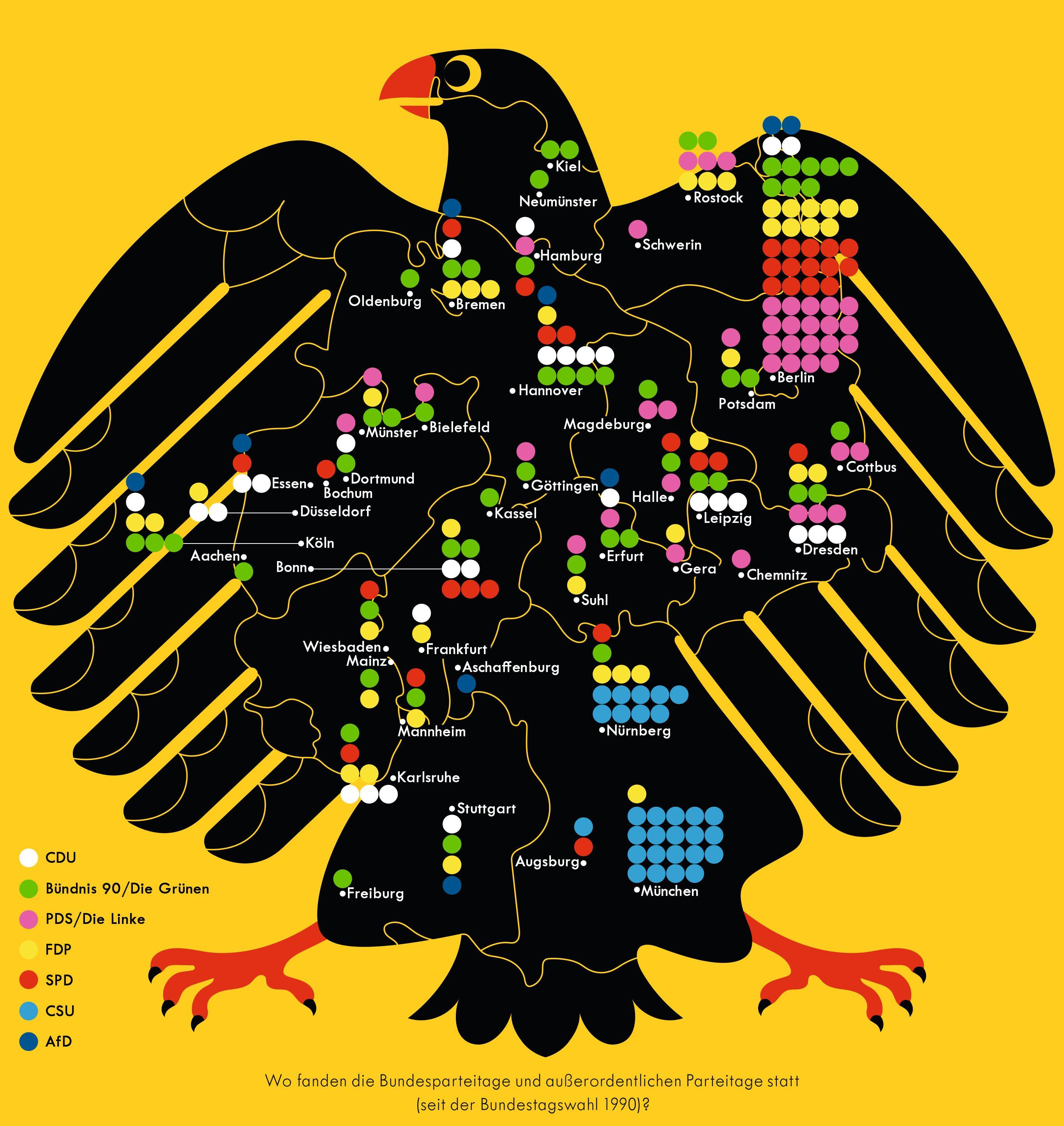 Deutschlandkarte: Parteitage