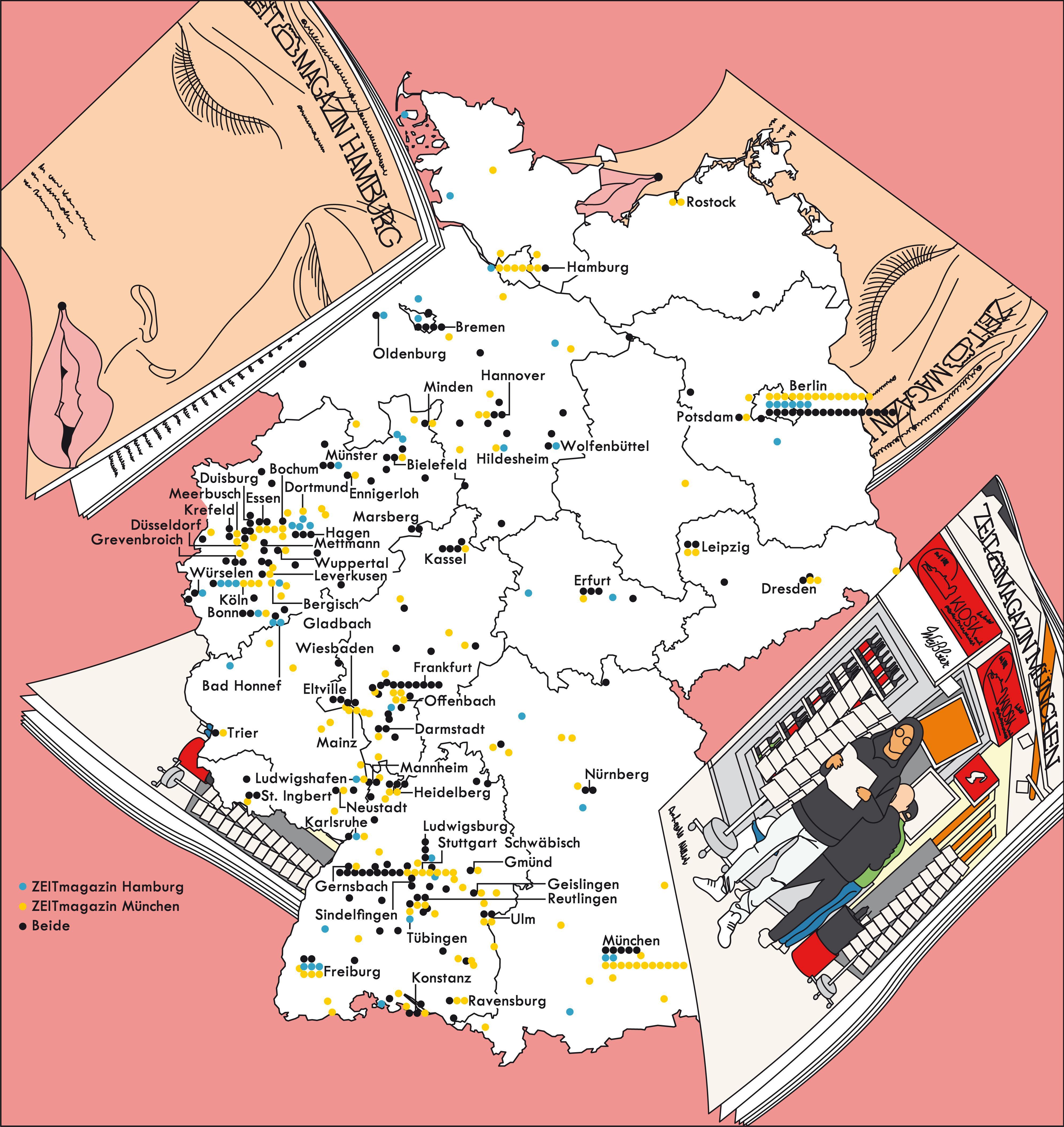 Deutschlandkarte: Hamburg- und München-Fans